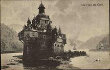 Caub Kaub Rheinland-Pfalz s/w Postkarte 1917 gelaufen Blick auf die Pfalz Burg