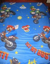 2010 NINTENDO MARIO BROS Motorbikes EAT MY DUST Reversible Throw Bedspread