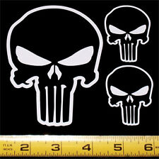 The Punisher Skull - Set of 3 HQ Single Color White Vinyl Sticker Decals!