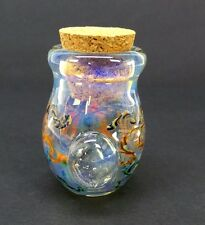 Squiggle Design Glass Jar with Magnifier Herb Pipe Tobacco Coin Hand Blown Jug