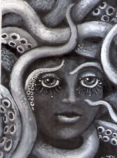 ACEO squid tentacle octopus woman face original painting by MOTYL