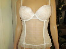 Bridal Corset White Lace Bustier, Stocking garder, 36B  Lingerie,bows, sheer