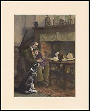 BORDER COLLIE DOG FATHER AND CHILD COTTAGE SCENE LOVELY PRINT READY TO FRAME