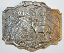 Nice 1974 Vintage COLORADO Deer Hunter Hunting JAMES LIND Solid Belt Buckle