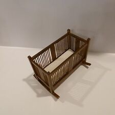 MINIATURE  BABY CRADDLE    BY BESPAQ    NEW WALNUT FINISH