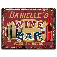 PWWB0150 DANIELLE'S WINE BAR OPEN 24Hr Rustic Tin Chic Sign Home Decor Gift
