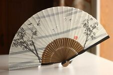 Chinese Japanese Fold Hand Linen Cloth Tree Bird Green Bamboo Pocket Fan White