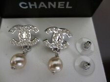 Authentic CHANEL CC pierced pearl-pearls earrings