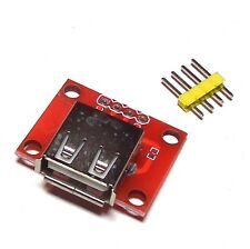 USB A Female Port Connector Breakout Board 5V Power 2.54mm Header for Arduino