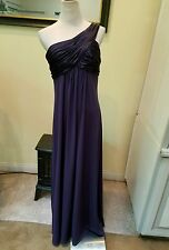 David's Bridal size 10 one shoulder full length dark purple polyester