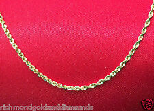 "Mens Womens 10k Yellow Gold Necklace Solid Rope Diamond Cut Chain 1.5mm 20"" inch"