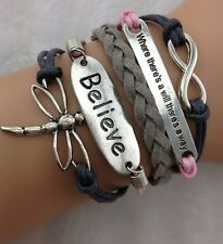 NEW Hot Retro Infinity Dragonfly Believe Leather Charm Bracelet plated Silver