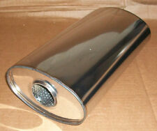 """7"""" x 4"""" Oval x 14"""" Long universal stainless steel exhaust silencer"""
