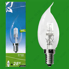 10x 28W (=40W) Dimmable Halogen Bent Tip Clear Candle Light Bulbs SES E14 Lamps