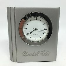 Marshall Fields Clock Modern Brushed Silver Metal Travel Small Desk Office NEW