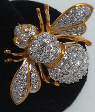 Joan Rivers Large Clear Crystal 21st Century Bee Pin Double Wing ~ NIB