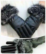 Women Black Faux Leather Gloves Autumn Winter Warm Rabbit Fur Mittens Hot2015