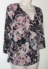 "J K L A California Multi Color 3/4 Sleeve Pull Over Blouse M Bust 34"" Lth 23 1/2"