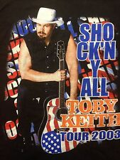 Used 2003 Toby Keith Tour 2-sided Large T Shirt Biker Rock Bar Band Country