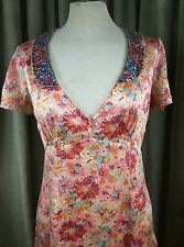 Whistles (London) Silk Floral Empire Line Dress with Sequin Collar - Size 8