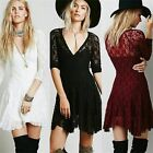 Sexy 3/4 Sleeve V-neck Women High Waist Cocktail Party Fit Flare Lace Mini Dress