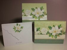 Carol's Rose Garden -  Note Card in carrying case - White Magnolia (10 pcs)