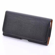 luxury Leather Black Pouch Case Belt Clip Holster Cover For latest phones