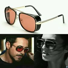 Tony Stark Steampunk IronMan Men Women AVIATOR Frame Sunglasses Red Gold Black