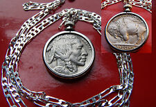 "CLASSIC 1936 MINT FULL HORN BUFFALO  Nickel on a  30"" 925 Sterling Silver Chain"