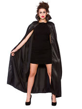 Gothic Black Satin Long Cape Vampire Cloak Halloween Accessory Mens Ladies New