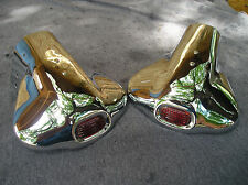 NEW PAIR OF CHROME VINTAGE STYLE EXHAUST TIPS WITH A RED JEWEL ON THEM !