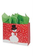 "100 Paper Bags Snowman Holiday Christmas Shopping 16"" x 6 x 12 ½"" Retail Gift"
