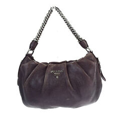 Authentic PRADA Logos Chain Shoulder Bag Nylon Leather Purple Italy 02S257
