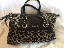 Coach Ashley Signature Black Satchel Shoulder Bag Purse Patent Leather F15443