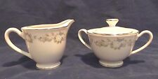 Enkore China, Yorkshire, #6815, Sugar & Creamer, Blue Floral Border, Silver Edge