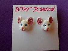 Betsey Johnson Authentic NWT Gold-Tone Crystal Mouse Stud Earrings