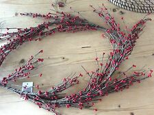 Primitive red pip berry wired garland 5ft