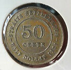 Old Collection Straits S. KGV 50cents1921 Silver coin high grade! lustre??scare!