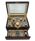 20 EBONY WALNUT DARK WOOD MENS WATCH COLLECTOR JEWELRY DISPLAY CASE BOX GIFT
