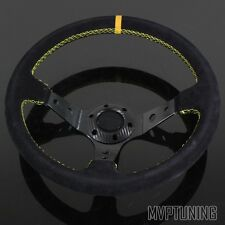 350mm Alcantara Suede/Yellow Stitching 6-Bolt Deep Dish Drifting Steering Wheel