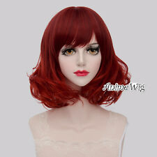 Lolita Style Mixed Red Short 40CM Curly Fashion Women Party Cosplay Full Wig