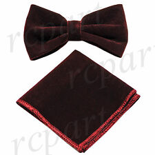 New in box Brand Q formal Men's Pre-tied Velvet Bow tie & Hankie Burgundy