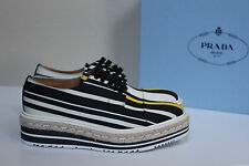 New sz 8.5 / 38.5 PRADA Satin Fabric Wing Tip Lace up Oxford Platform Shoes