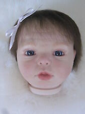 GRACIE sculptor Donna Rubert Reborn Doll HEAD ONLY Blue Eyes Rooted Hair