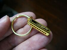 (M-329-C) mini 10-hole 24k gold plt Hohner HARMONICA KEYCHAIN ring  jewelry