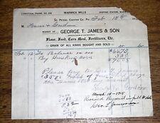 1900s Billhead - George T James Warwick Mills Grain Fertilizers - St Peters PA