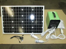 12 VOLT SOLAR SYSTEM GREAT FOR CABINS HUNTING CAMPING PORTABLE 50W PANEL/LIGHTS