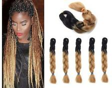 "5 Pack Black & Brown Blonde 24"" Ombre Dip Dye Kanekalon Braiding Hair Extensions"