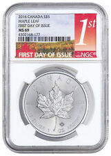 2016 Canada $5 1 Oz Silver Maple Leaf NGC MS69 (First Day of Issue) SKU38380