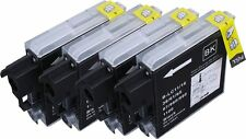 4 Black Ink Cartridges XL For Brother LC1100 LC980 DCP-395CN DCP-385C MFC-490CW